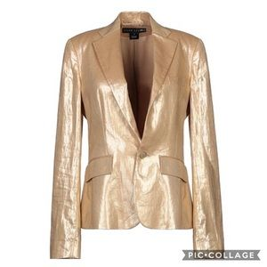 Ralph Lauren Black Label Gold Linen Blazer 8